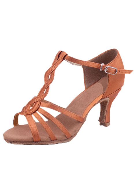 Brown Latin Dance Sandals Cut Out Straps Satin Heels фото