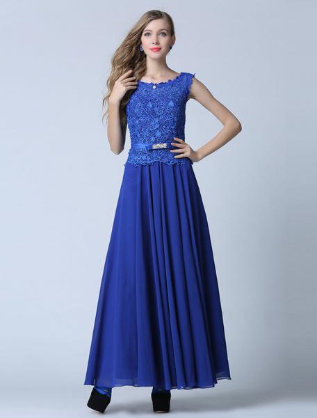 Blue Prom Dress Sheath Backless Chiffon Lace Evening Dress фото