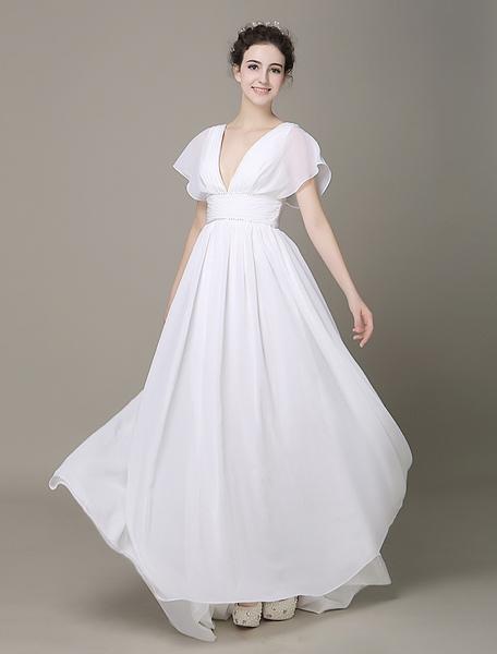 Plunging Chiffon Beach Wedding Dress A-line Ivory V-Neck Pleated Belt Short Sleeves Bridal Dress Wit