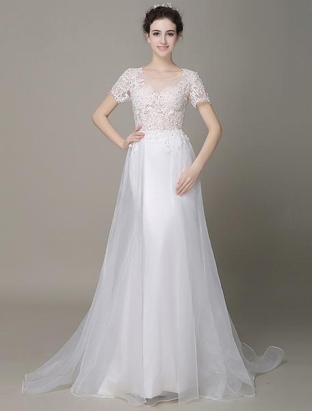 Ivory Wedding Dress Beaded Lace Semi-Sheer Tulle Wedding Gown Milanoo фото