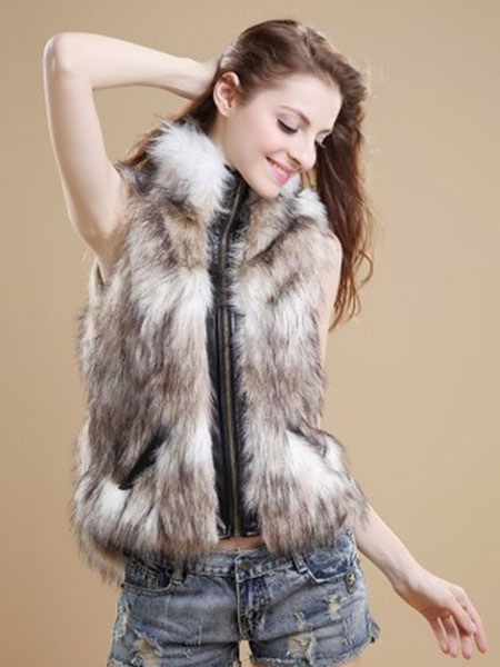 Image of Women Faux Fur Vest Zippered Faux Fur Coat Sleeveless Leather Jacket