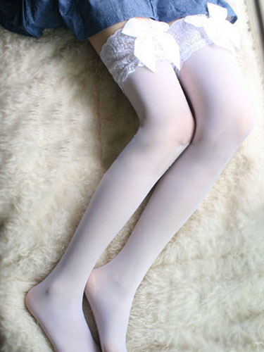 Halloween White Stockings Lace Bow Spandex Stockings for Women фото