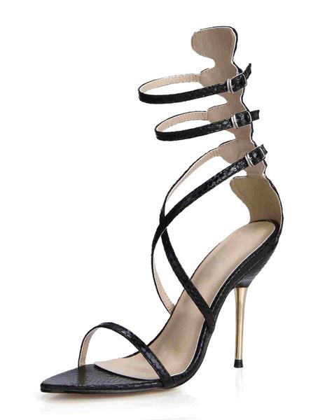 Black Gladiator Sandals Straps PU Heels for Women фото