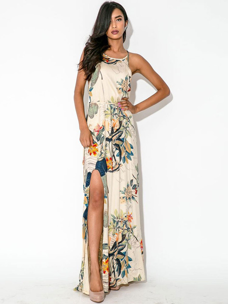 Multicolor Maxi Dress Straps Split Floral Print Cotton Dress