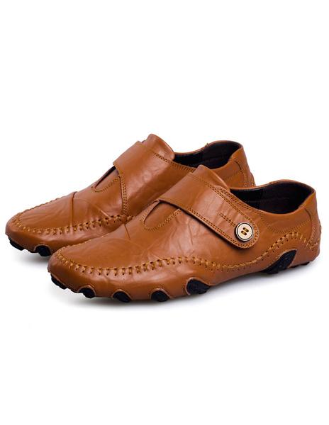 Кофе кожаные ботинки воловьей кожи модные Повседневная обувь для мужчин