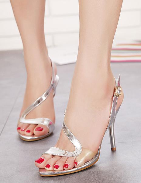 Sandali d'argento cinghie chic PU tacchi per le donne