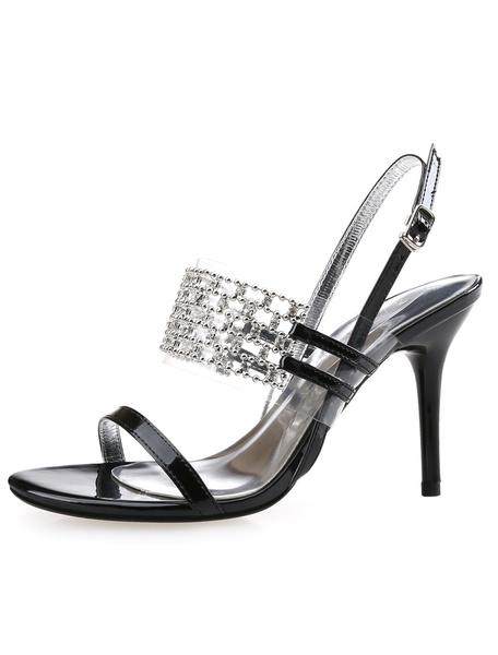 Black Sandals Rhinestone Metal Details PU Heels for Women