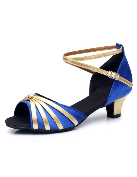 Two-Tone Latin Dance Sandals Straps Satin Chic Heels for Women