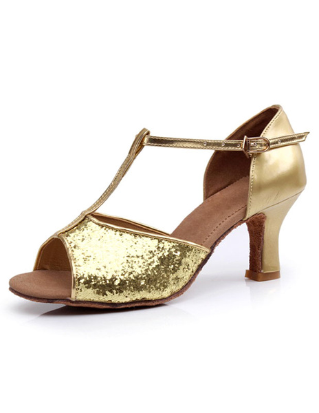 Gold Latin Dance Sandals Straps Sequins Heels for Women
