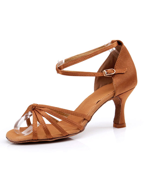 Caramel Latin Dance Sandals Straps Satin Heels for Women