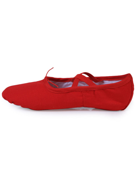 Red Ballet Dance Shoes Straps Canvas Flats for Women фото