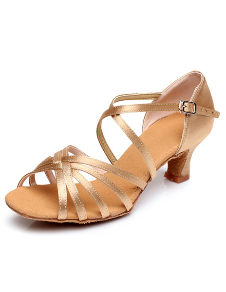 Champagne Latin Dance Sandals Straps Satin Heels for Women