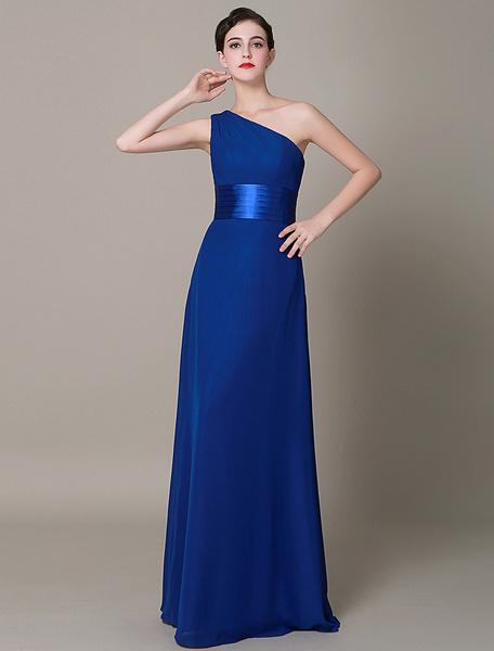 Royal Blue Evening Dress Back Design One Shoulder A-line Pleated Chiffon Prom Dress 2017