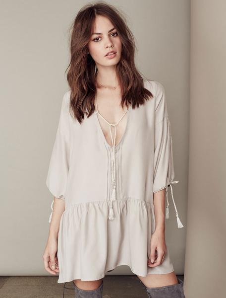 Apricot Shift Dress Low Cut Lace Up Cotton Dress фото