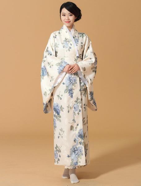 Halloween Kimono Dress Japanese Yukata Light Blue Floral Print Costume for Women фото
