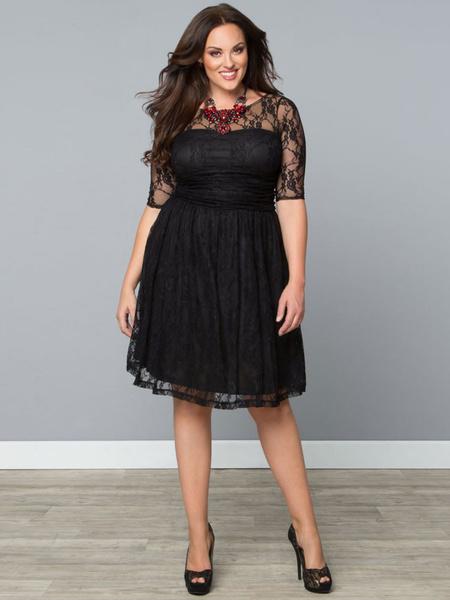 Black Lace Dress Vintage Style Sheer Short Sleeve Skater Dress For Women фото