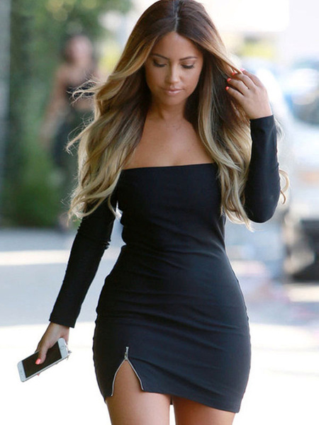 Black Bodycon Dress Off-The-Shoulder Strapless Split Spandex Club Dress