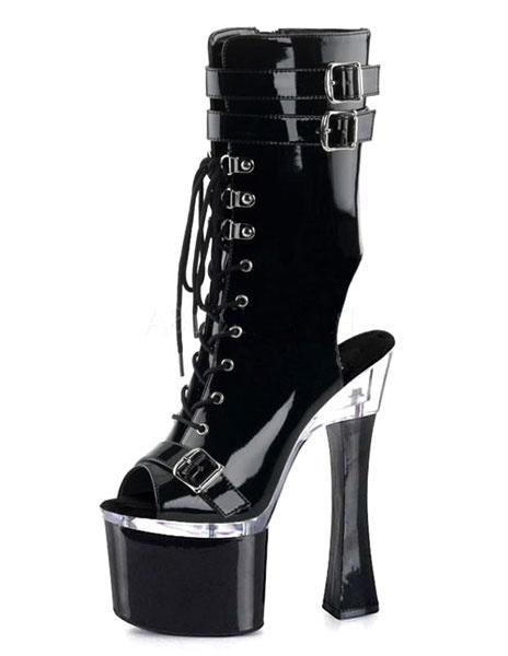 Black Booties Sky High Platform Peep Toe Cut Out Lace Up Glazed PU Heels for Women фото