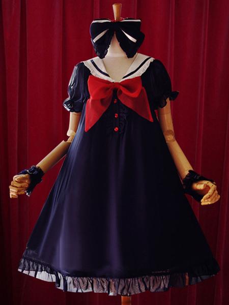 Navy Lolita Dress Bow A-Line Chiffon Dress for Women фото