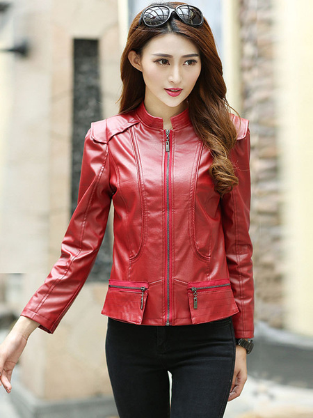 Red Jacket Pockets Zipper PU Leather Jacket for Women фото