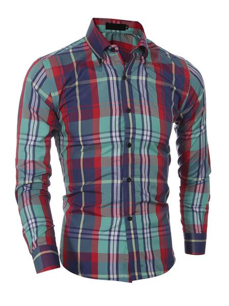Multicolor Shirt Plaid Print Cotton Shirt for Men фото