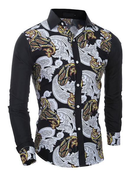Multicolor Shirt Floral Print Cotton Shirt for Men Milanoo