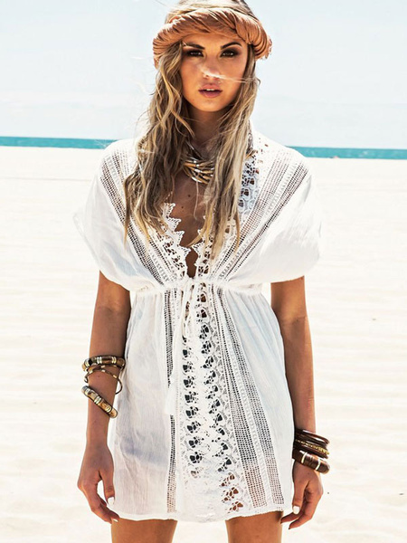 White Cover Up Semi-Sheer Chic Cotton Cover Up for Women Milanoo