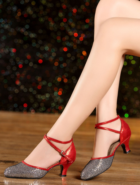 Multicolor Dance Sandals Straps Glitter Heels for Women