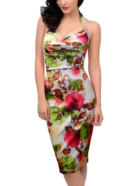 Multicolor Bodycon Dress Halter Backless Print Cotton Dress