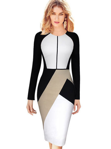Color Block Bodycon Dress Geometric Print Cotton Dress Milanoo