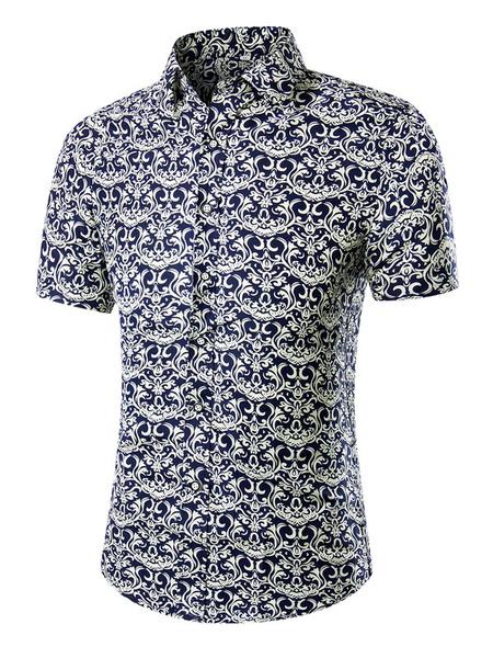 Print Short Sleeves Shirt Multicolor Cotton Shirt for Men