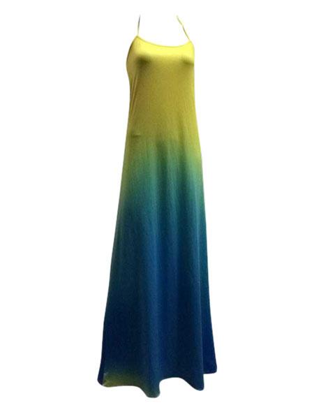 Milanoo / Vestido largo algodón amarillo cuello en V Gradiente volante fruncido sin mangas