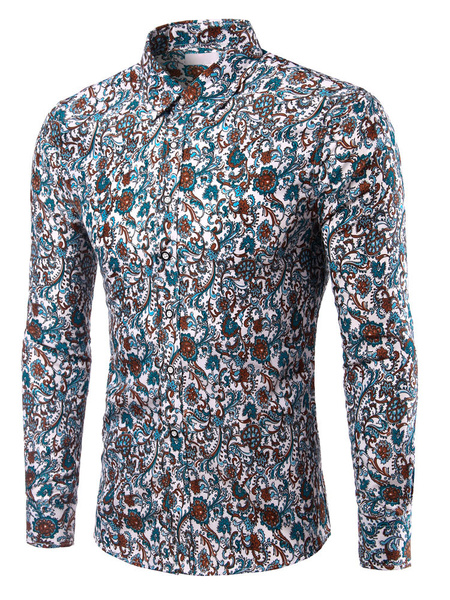 Print Shirt Multicolor Cotton Shaping Shirt for Men фото