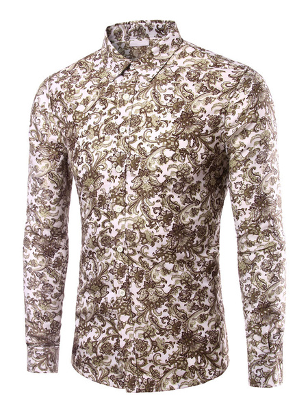 Print Shirt Multicolor Cotton Slim Fit Shirt for Men фото