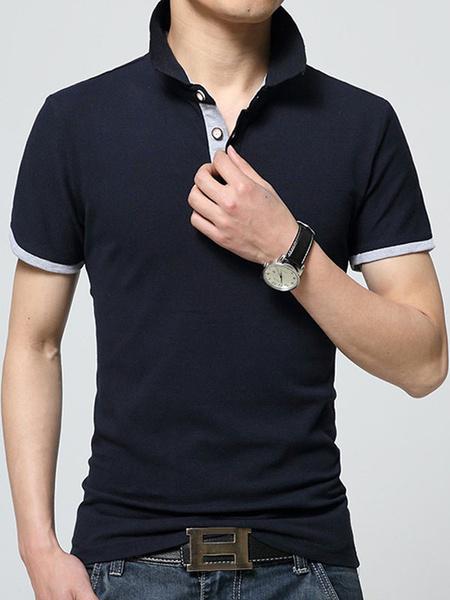 Черная рубашка поло кнопки хлопок рубашки поло для мужчин