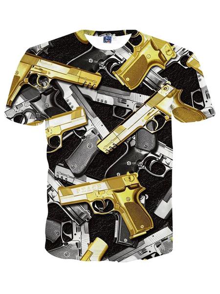 Handsome Gold Print Short Sleeves Crewneck Printed Cotton Blend Cool Men's T-Shirt фото
