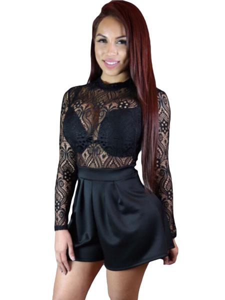 Black Sheer Romper Lace Top Slim Fit Romper