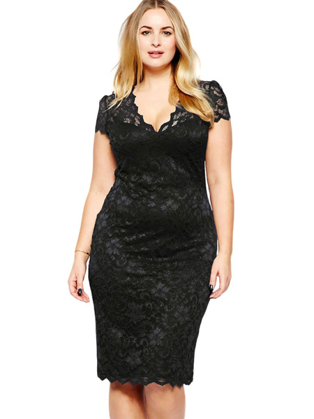 Black Bodycon Dress Lace Cut Out Polyester Short Dress фото