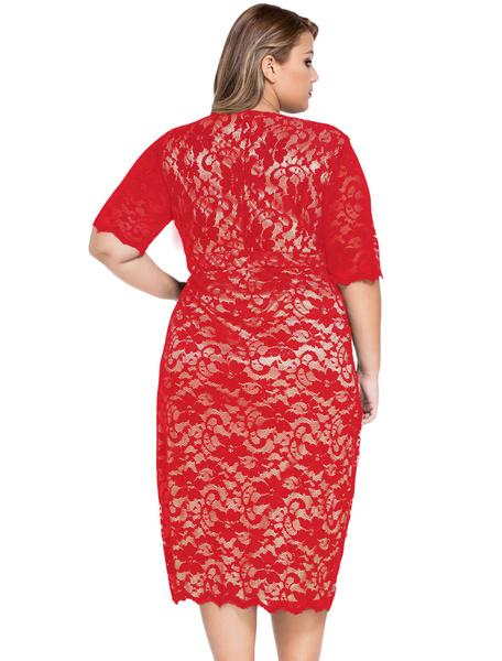Milanoo / Red Plus tamaño vestido encaje Midi-Vestido