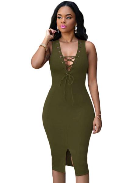 Low Cut Bodycon Dress Hunter Green Lace Up Split Dress фото