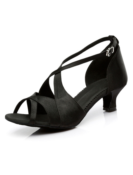 Black Latin Dance Sandals Satin Heels for Women