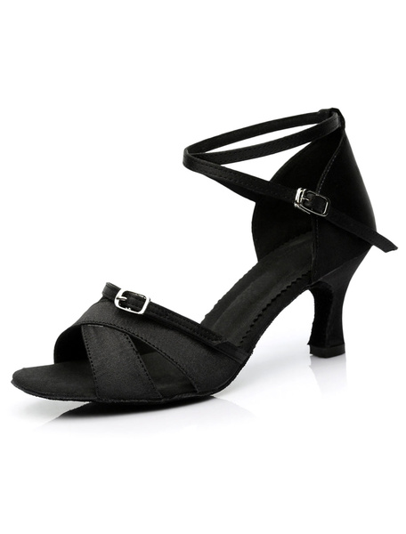 Black Latin Dance Sandals Straps Satin Heels for Women