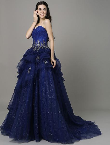 A-ligne bleu Royal appliques robe de soirée avec cou Sweetheart train