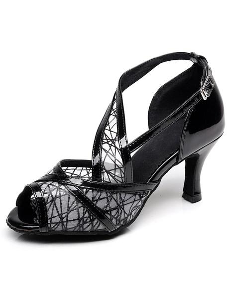 Peep Toe Latin Dance Sandals Black Mesh Straps Heels for Women фото