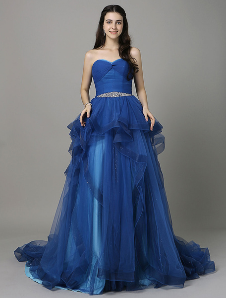 Royal Blue A-Line Prom Dress With Sweetheart Neck Sleeveless Pleated фото