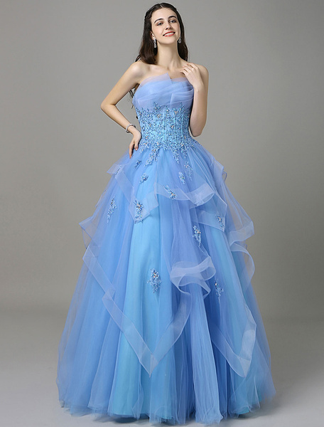 Blue A-Line Prom Dress With Strapless Sleeveless Applique фото