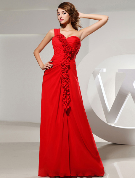 One-Shoulder Red Prom Dress Pleated Flower Sweetheart A-Line Floor-length Chiffon Evening Dress фото