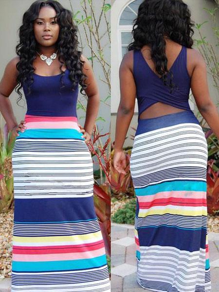 Stripes Print Maxi Dress Multicolor Backless Cut Out Dress