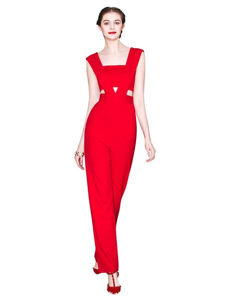 Red Jumpsuit Backless Cut Out Roman Knit Jumpsuit for Women Milanoo