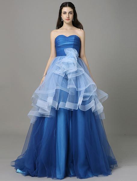 Robe de bal bleu royal plissé Backless Cour a-ligne Sweetheart hiérarchisé Train robe de Quinceaner